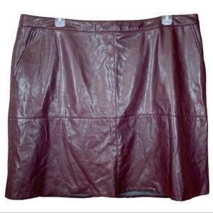 Dana Buchman Burgundy Red Faux Leather Skirt- 24W